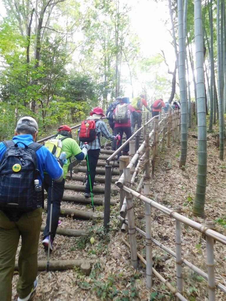 一班・二班合流し竹林の階段を上り北八朔町へ