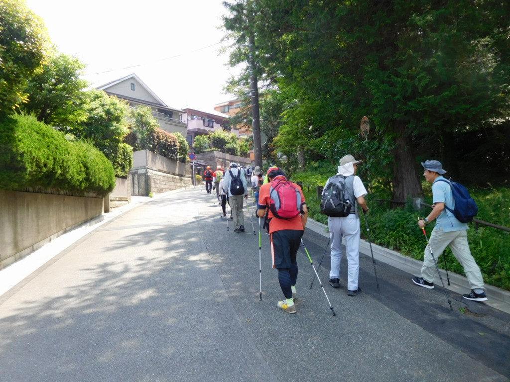 本日最初の坂道です。背すじを伸ばして歩きましょう