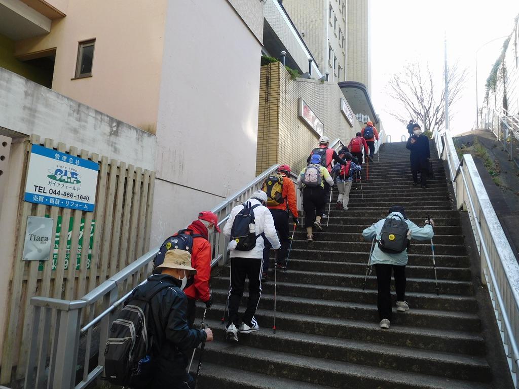 タウンニュース建物の横の階段 Tさん少し疲れ気味?