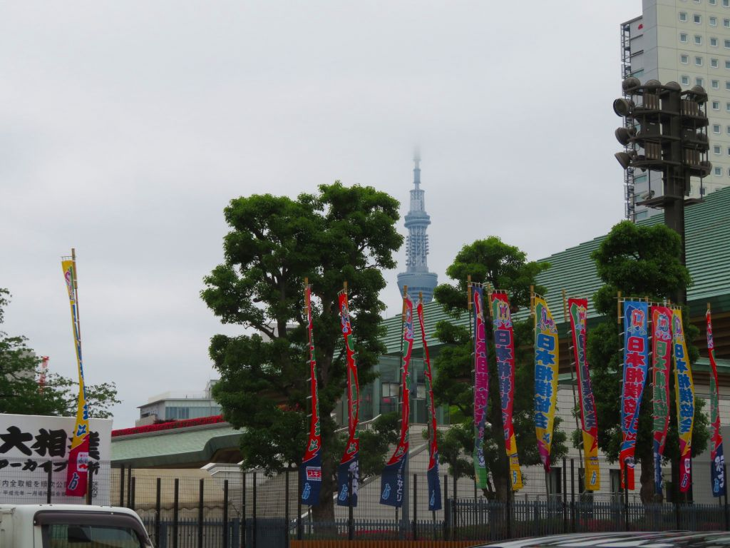 国技館とスカイツリー