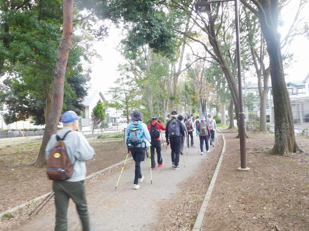 見花山へ向けて遊歩道を歩く