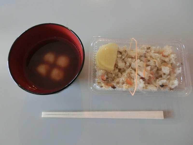 本日の昼食 お汁粉と炊込みご飯