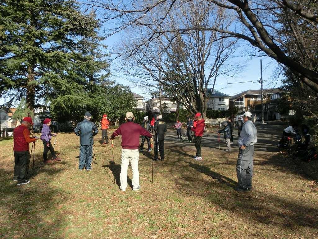 市が尾町公園で本日の残雪スリップ注意・コース説明