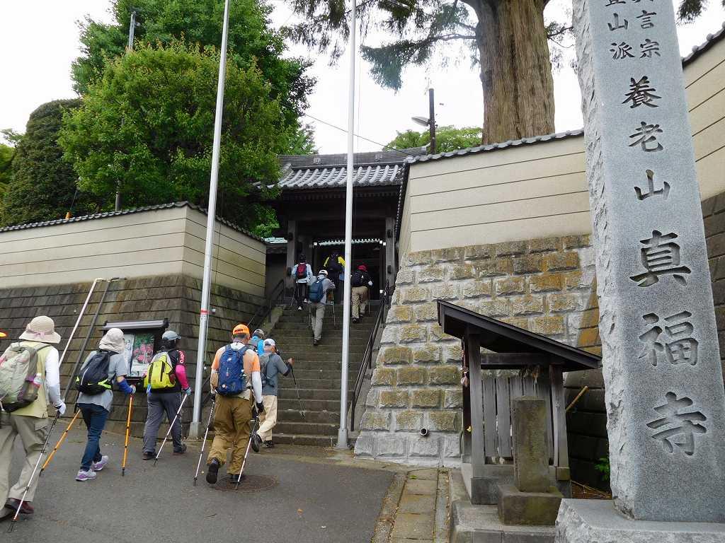 真福寺の階段を登る 「庚申塔の多い地区だね」との声あり