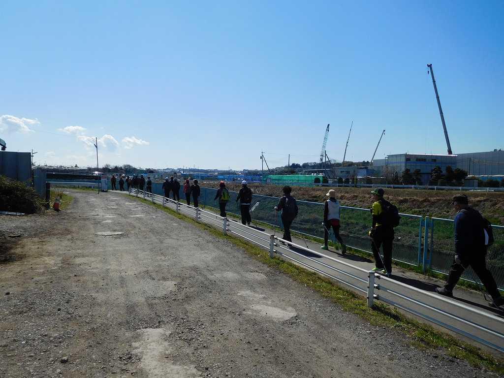 鶴見川沿いを一列で歩く この隊列を崩さないように注意しましょう