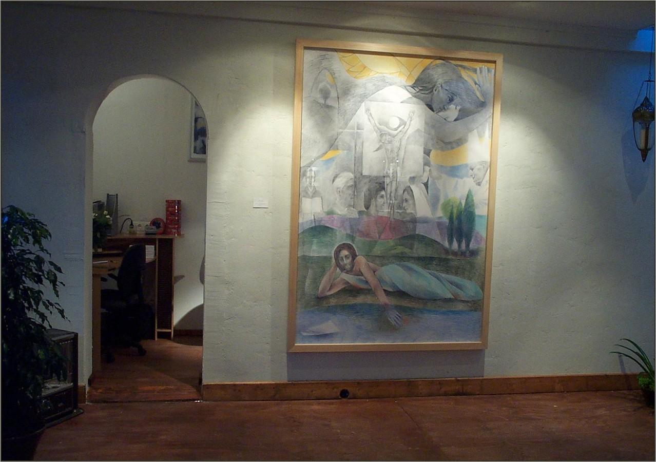 De tekening getiteld: 'Mysterium Fidei' is in 2005 geschonken aan de H.Hartparochie in Oss en aldaar te bezichtigen.