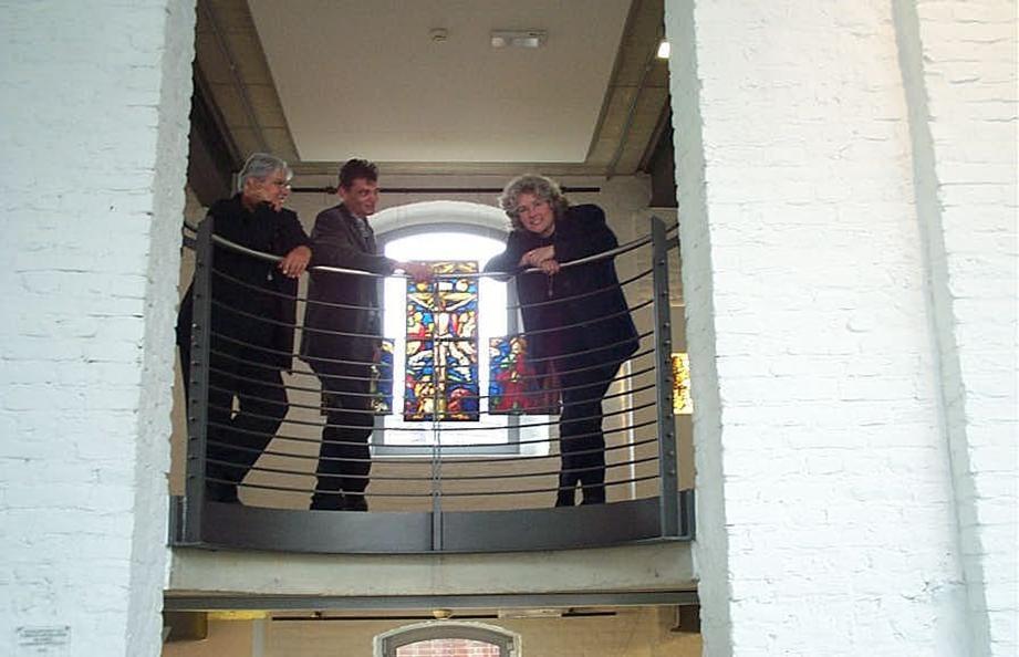 Glasmuseum Linnich v.l.n.r.: Christien Naber, Johan Voets, Mirthe Sleper