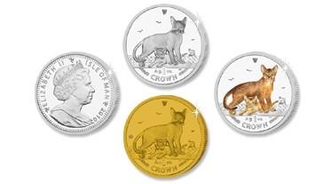 Монеты острова Мэн (2010) с изображением абиссинской кошки.