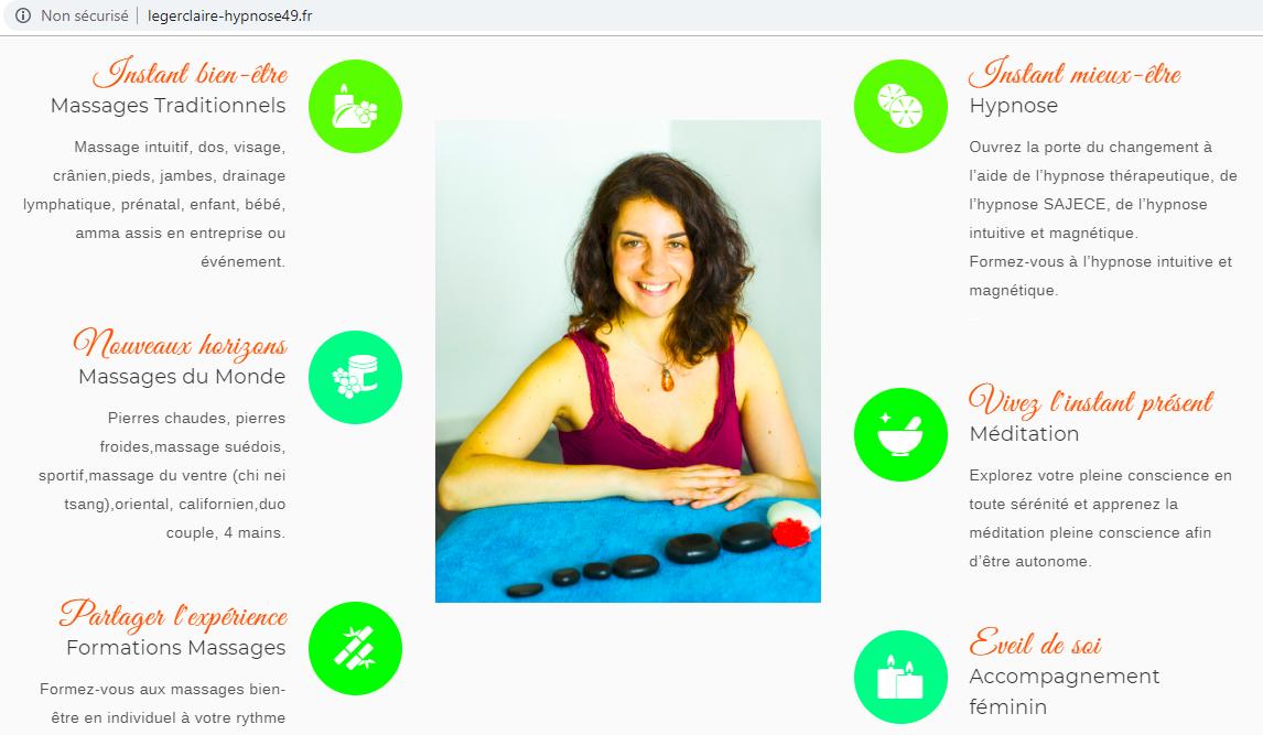 publication site web massage Claire Léger Angers