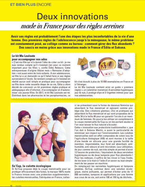 Publication magazine Vivre bio nature naturel hors série n°18 page 42 culotte menstruelle So cup