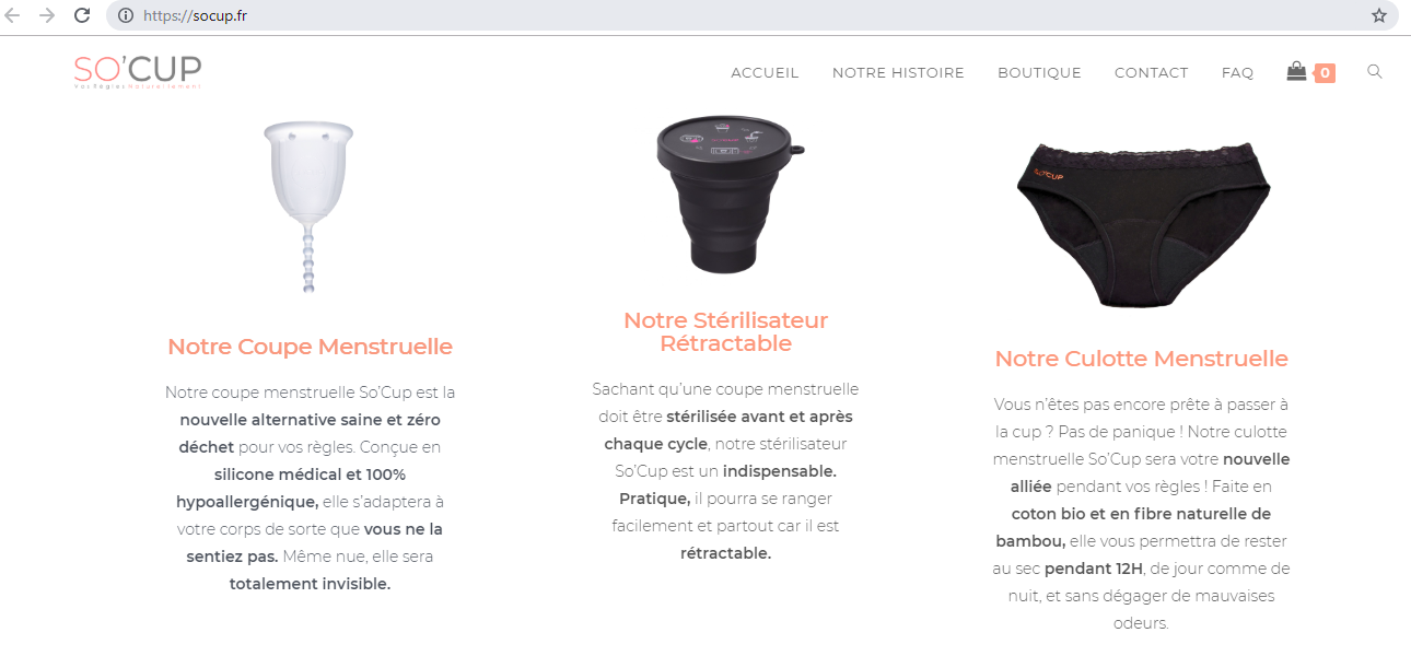 Photo site web pour la marque So' Cup
