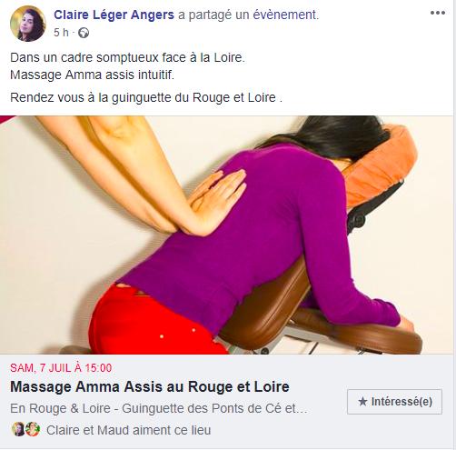 publication Facebook événement massage Claire Léger Angers