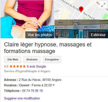 publication google maps hypnothérapie massage Claire Léger Angers