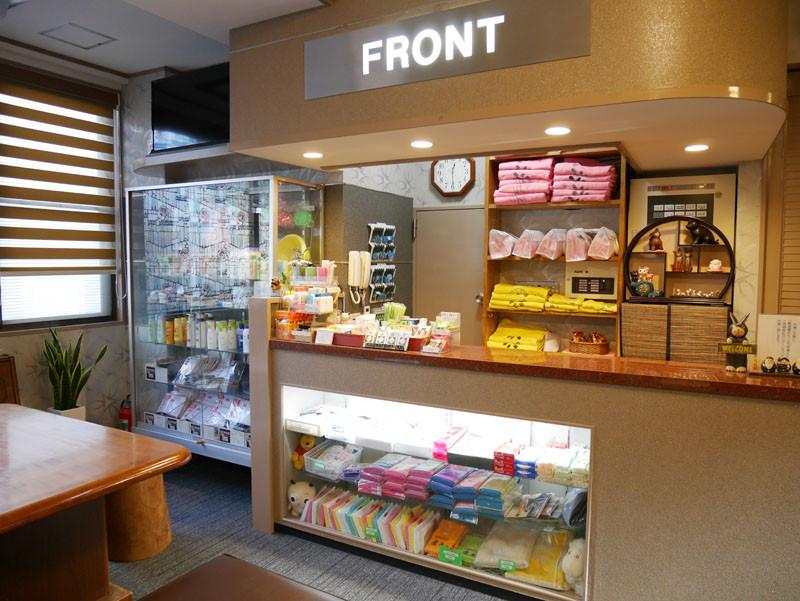 フロントでは、タオルなどの貸出やシャンプー・ボディーソープなどのアメニティの販売も行っております。