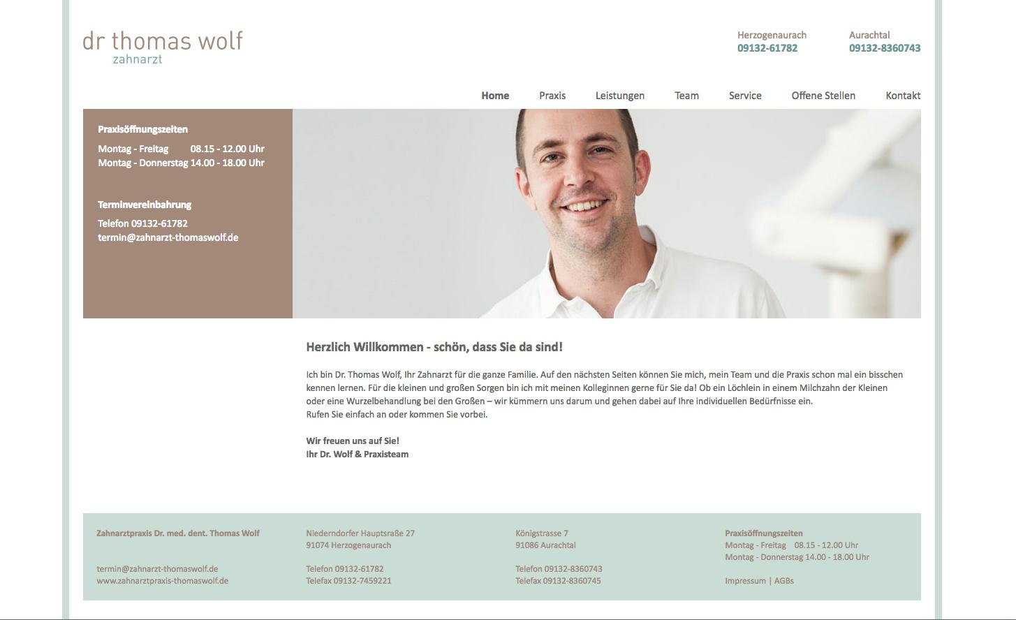 Zahnarztpraxis Dr. Wolf Website