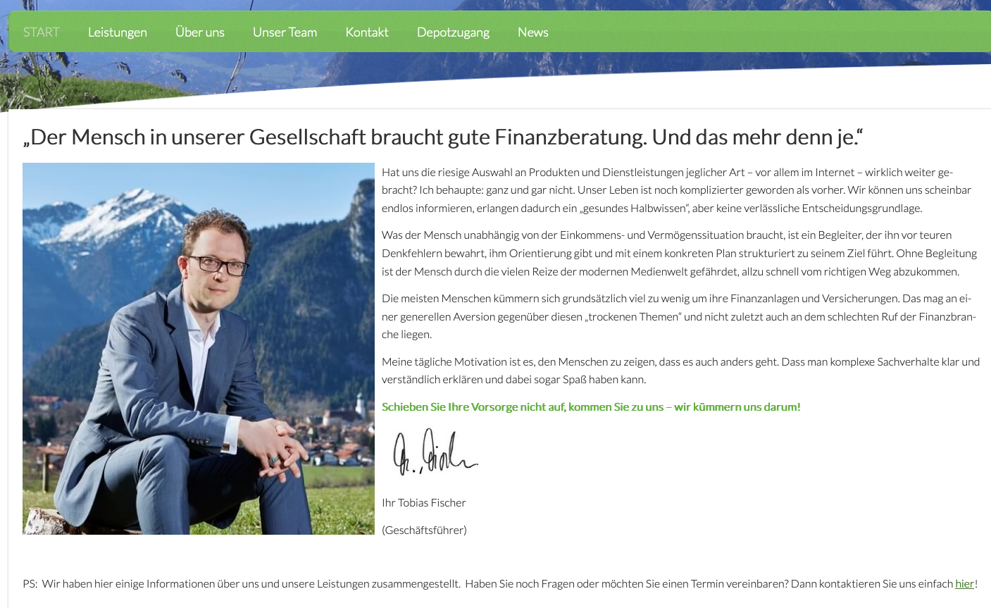 Fischer Finanz- und Versicherungskonzepte Website