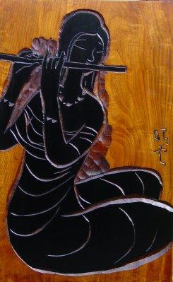 no.8173 「笛吹」 60.5x38.5cm 材:トチ