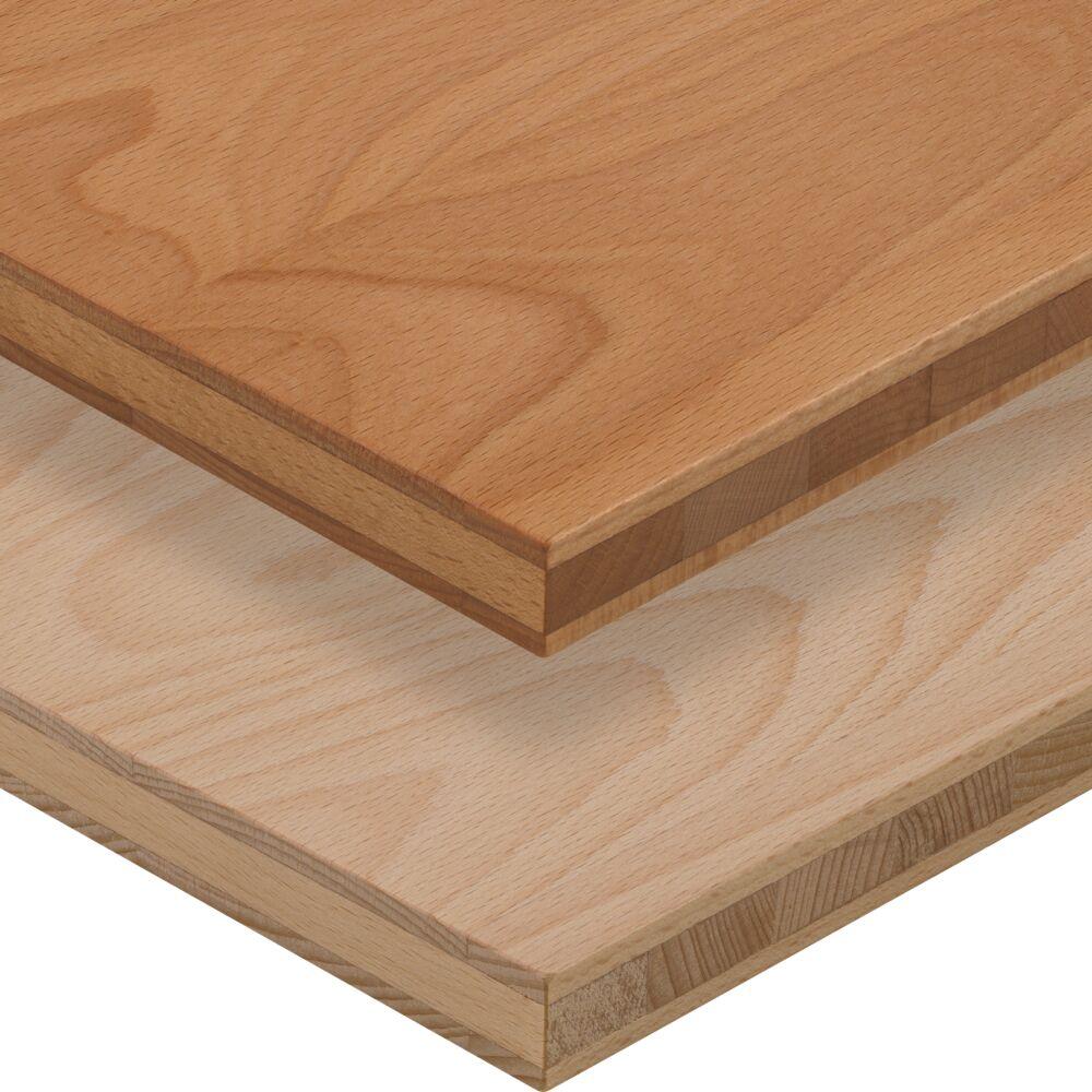 3- Schicht Massivholzplatte Buche ged. oben geölt, unten roh