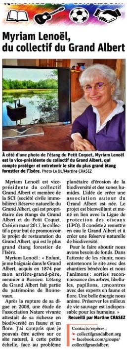 Le Dauphiné Libéré - Myriam Lenoël du Collectif Grand Albert - 5 avril 2021