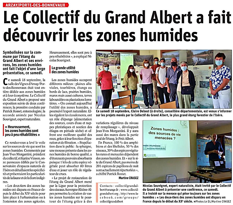 Le Dauphiné Libéré - Le Collectif Grand Albert a fait découvrir les zones humides - 21 septembre 2021