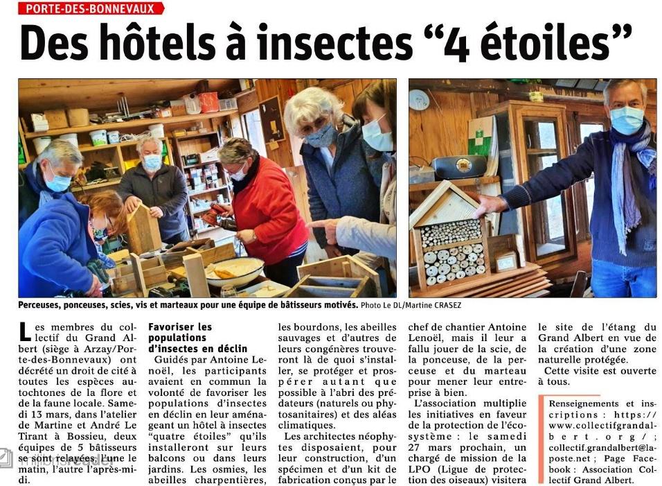 Le Dauphiné Libéré - Des hôtels à insectes 4 étoiles - 16 avril 2021
