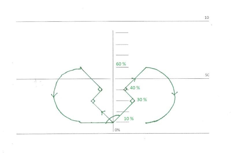 FIG_5: sortie du TR-4, on monte à 45° nez vers la ligne des 30% à gauche, on effectue un rapide droite-gauche en angles de 90° bien claqués! Petit bout de droite, pour attaquer un demi-cercle par le bas vers la ligne des 10%. On recommence ensuite la même