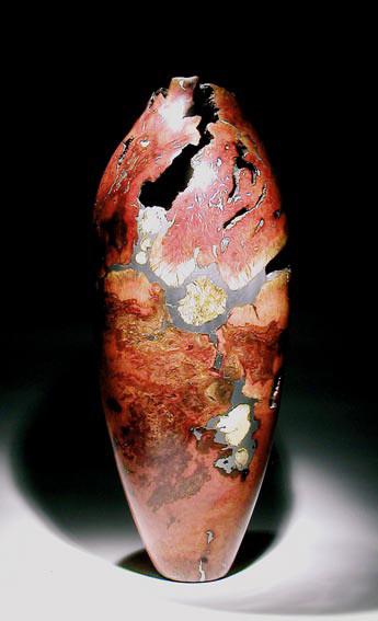 pièce creusée mosaique- ronce de manzanita, buis, étain h70 cm - 2004