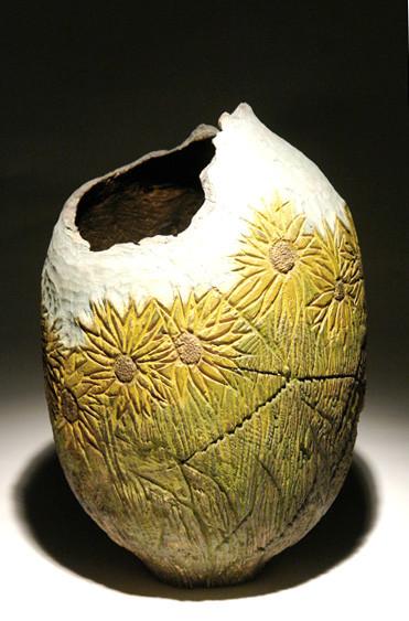 Pièce creusée - frêne - pigments - h 40 cm - 2007