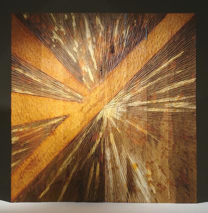 """""""lumière 006"""" mural en chêne oxydé aux acides - 100 x 100 cm - 2009"""