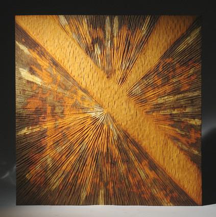 """""""lumière 002"""" mural en chêne oxydé aux acides - 80 x 80 cm - 2009"""