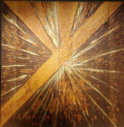 """""""lumière 005"""" mural en chêne oxydé aux acides - 100 x 100 - 2009"""