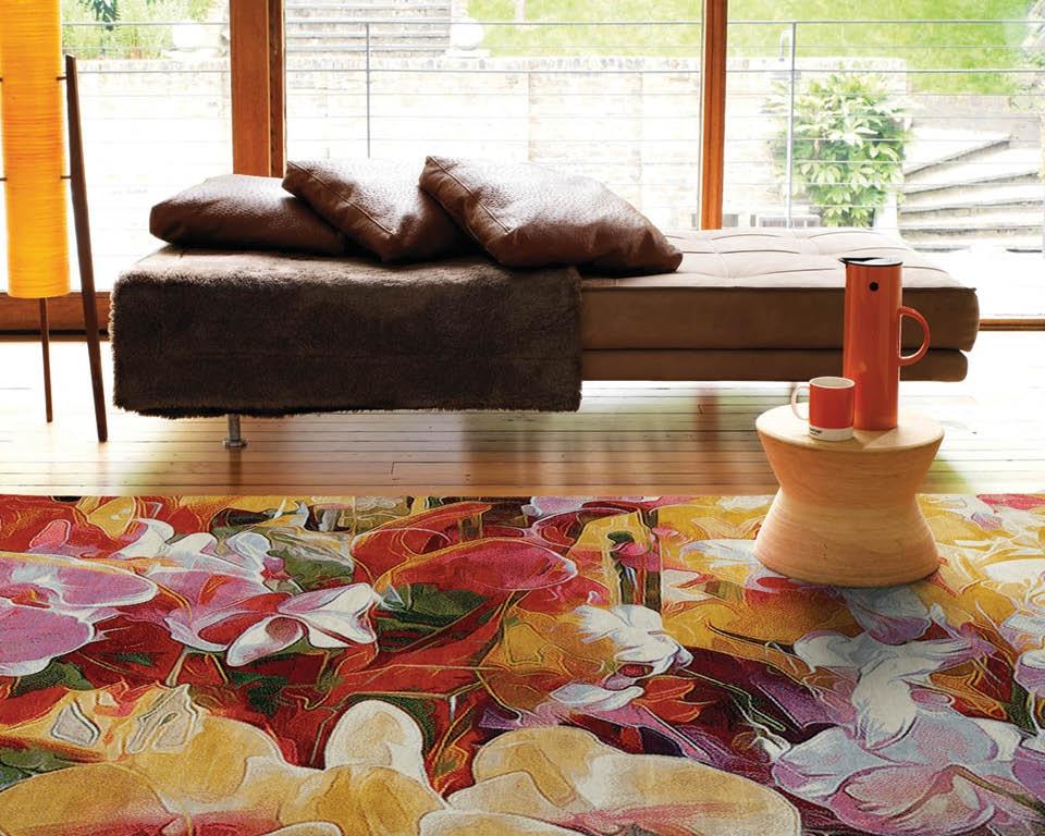 Prachtfarben Wollteppich Blumen