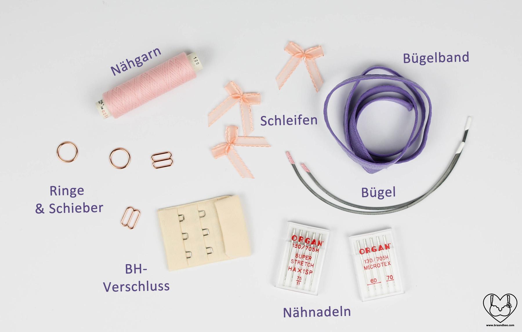 Alle Materialien die du zum BH nähen brauchst