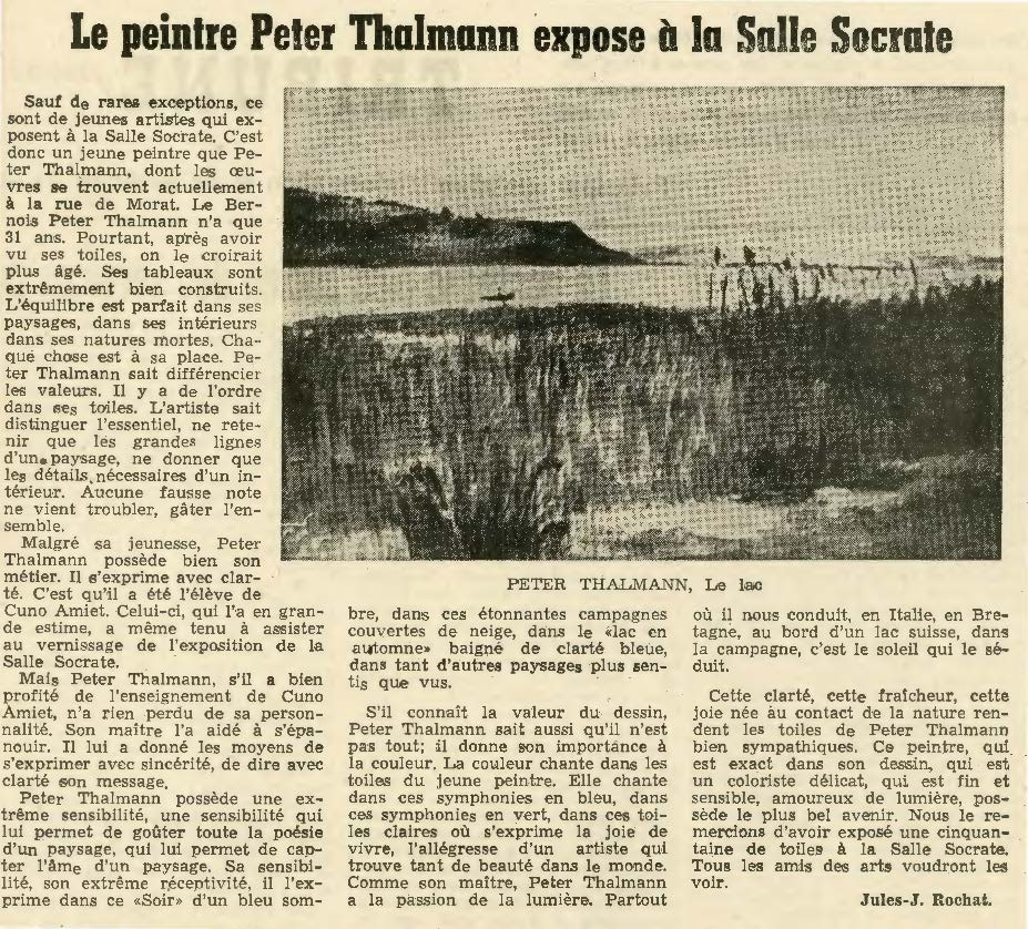 1957, Galerie Socrate Biel: Zeitungsbericht