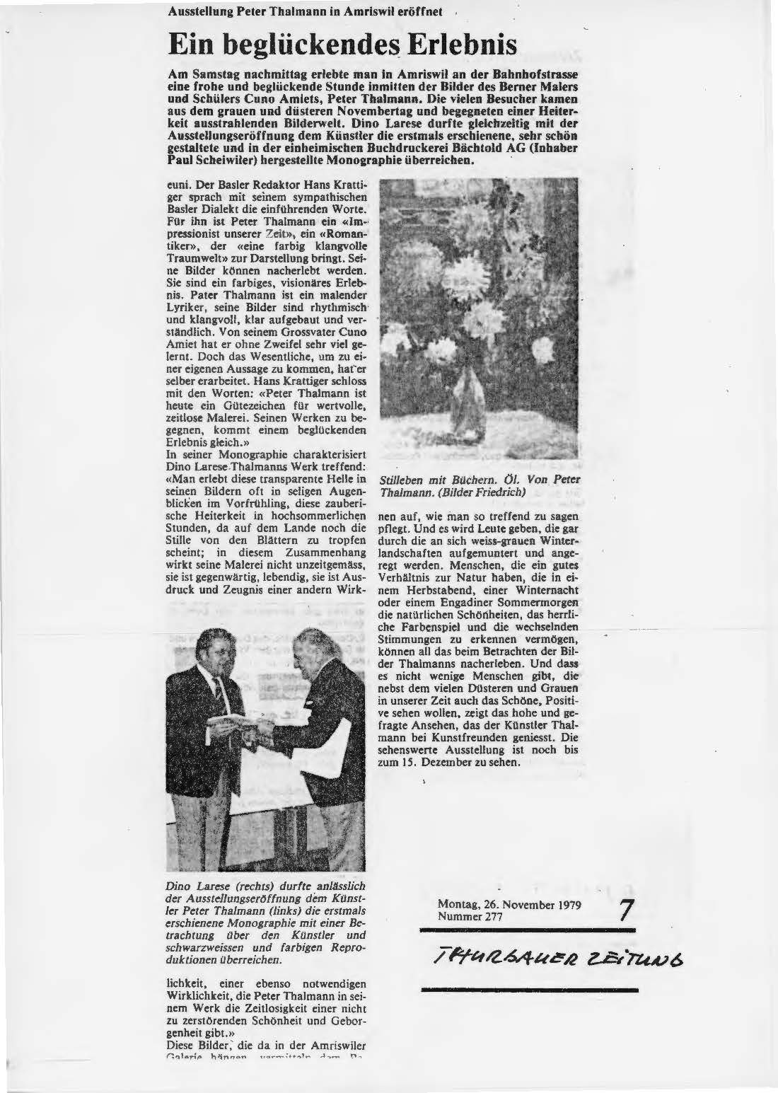 1979, Galerie 19 Amriswil: Zeitungsbericht