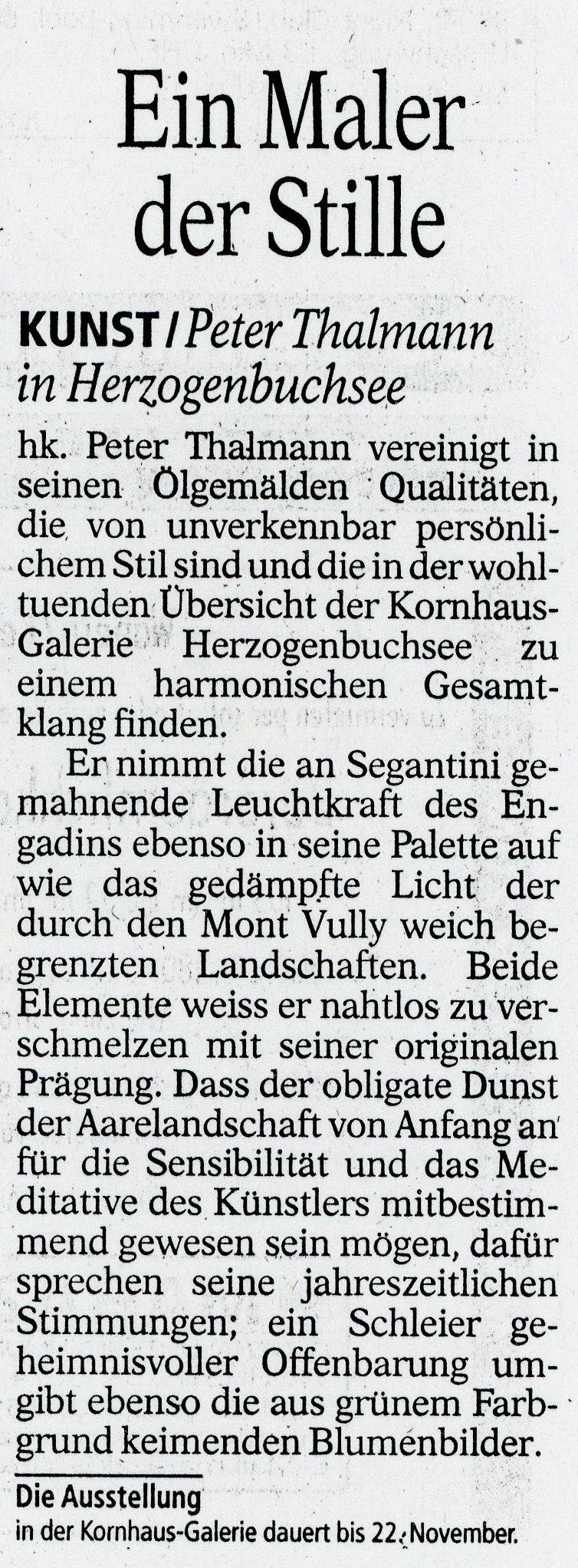 1998, Kornhaus Herzogenbuchsee: Zeitungsbericht