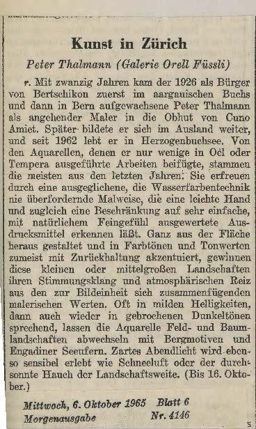 1965, Galerie Orell Füssli, Zeitungssberichte