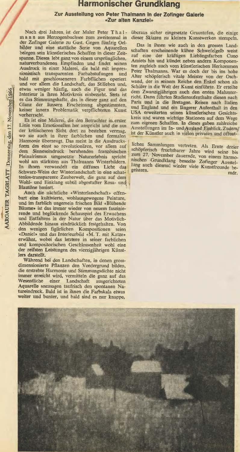 1966, Galerie alte Kanzlei: Zeitungsbericht