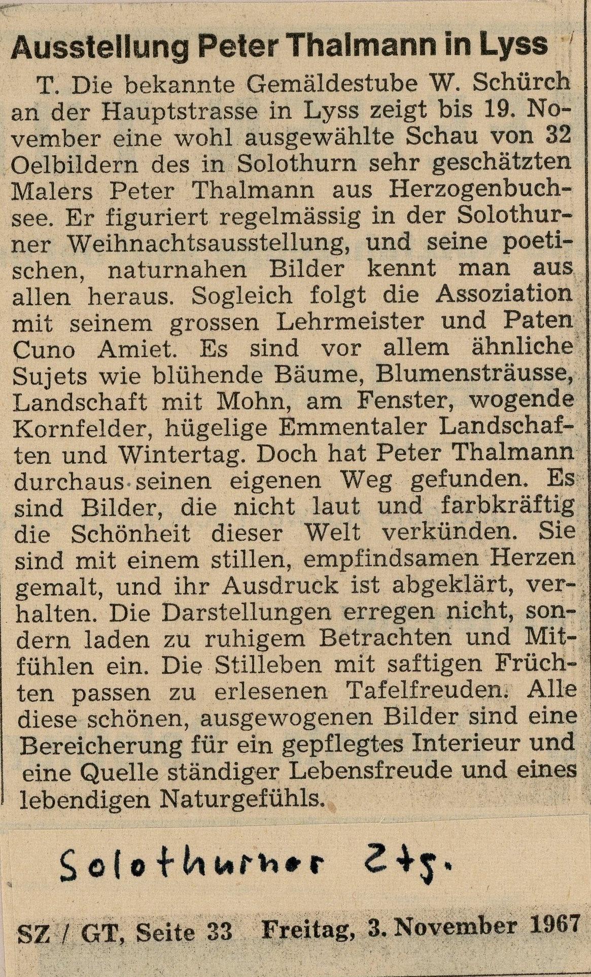 1967, Gemäldestube Lyss: Zeitungsbericht