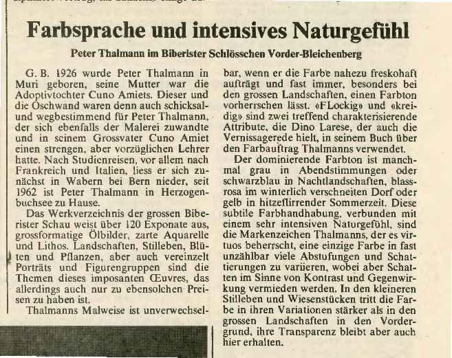 1981,  Schlösschen Vorder-Bleichenberg: Zeitungsbericht