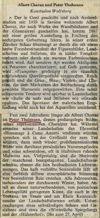 1974, Kunstsalon Wolfsberger: Zeitungsbericht