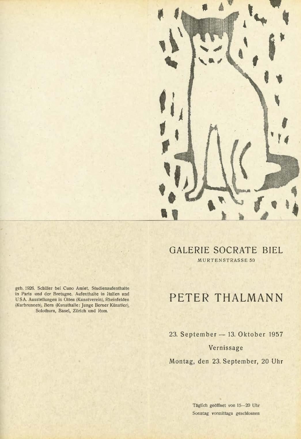 1957, Galerie Socrate Biel: Einladung