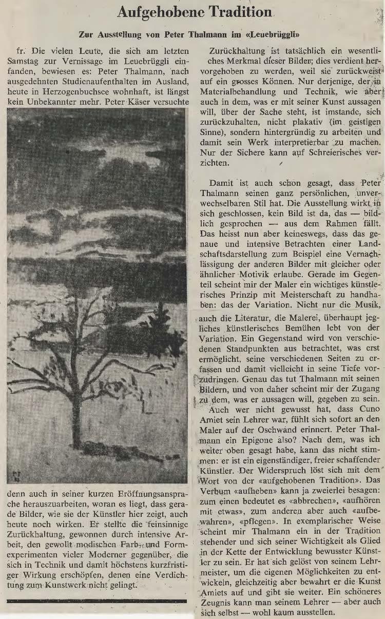 1973, Leuebrüggli: Zeitungsbericht