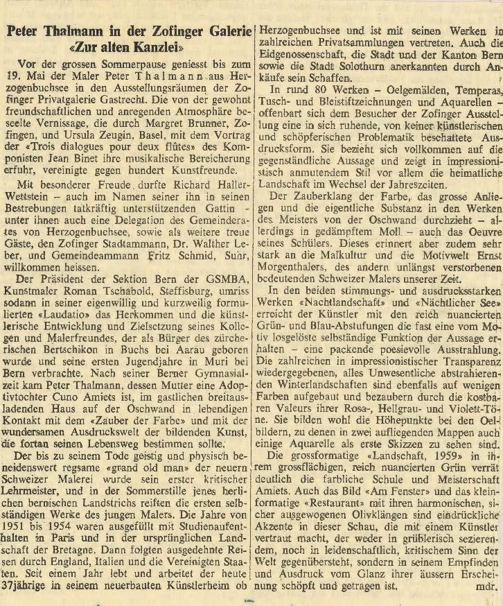 1963, Galerie zur Alten Kanzlei, Zofingen: Zeitungsbericht