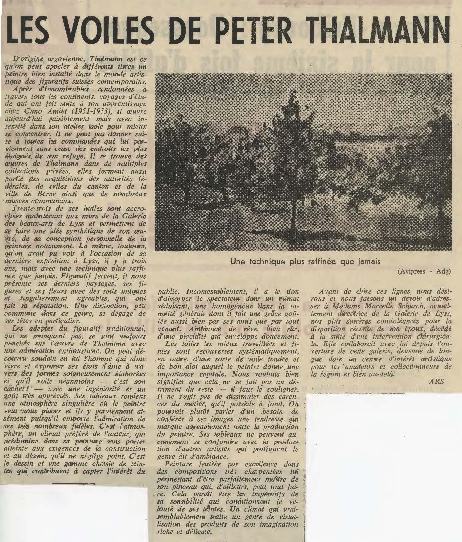 1970, Galerie Socrate Biel: Zeitungsbericht