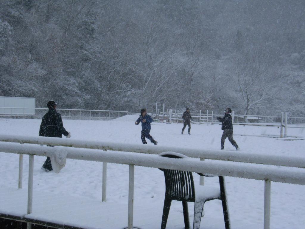 馬場凍結のため、雪合戦開始。。。!