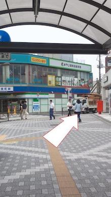③ 通路を出て、右側のパン屋さんを右に曲がり真っすぐ進みます。