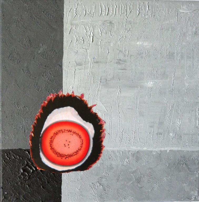 Lebendiges auf Grau 30x30 cm 2010