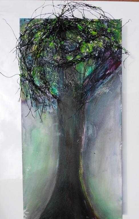 einzelner Baum im Park  Acryl mit Geäst 2011