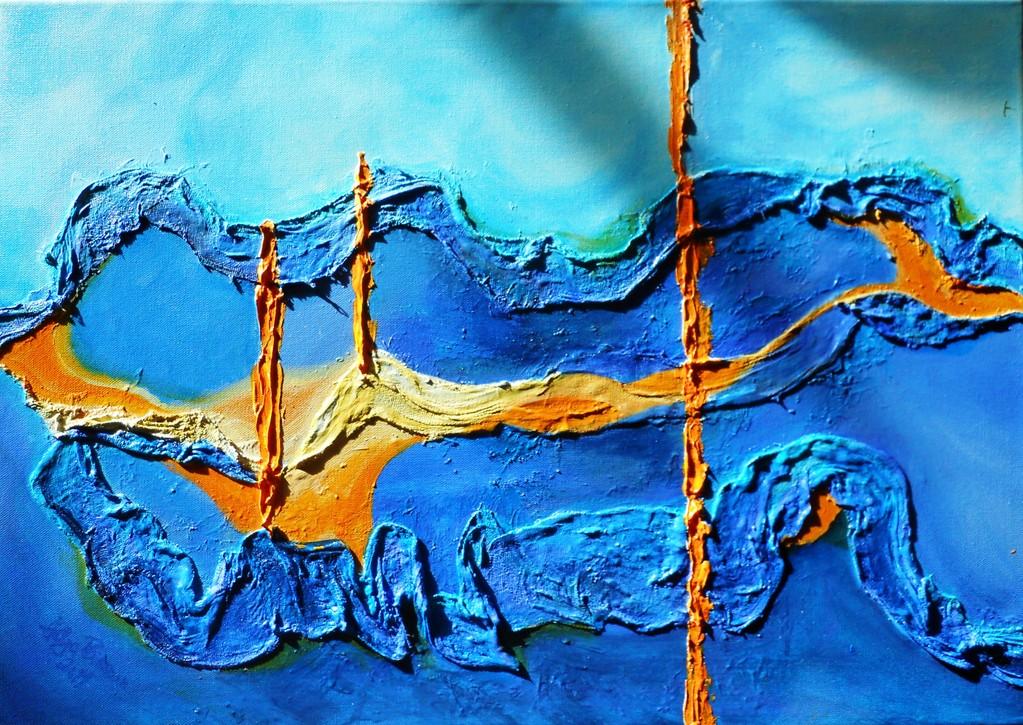 blaues Gipsgebinde 60x40 cm 2011
